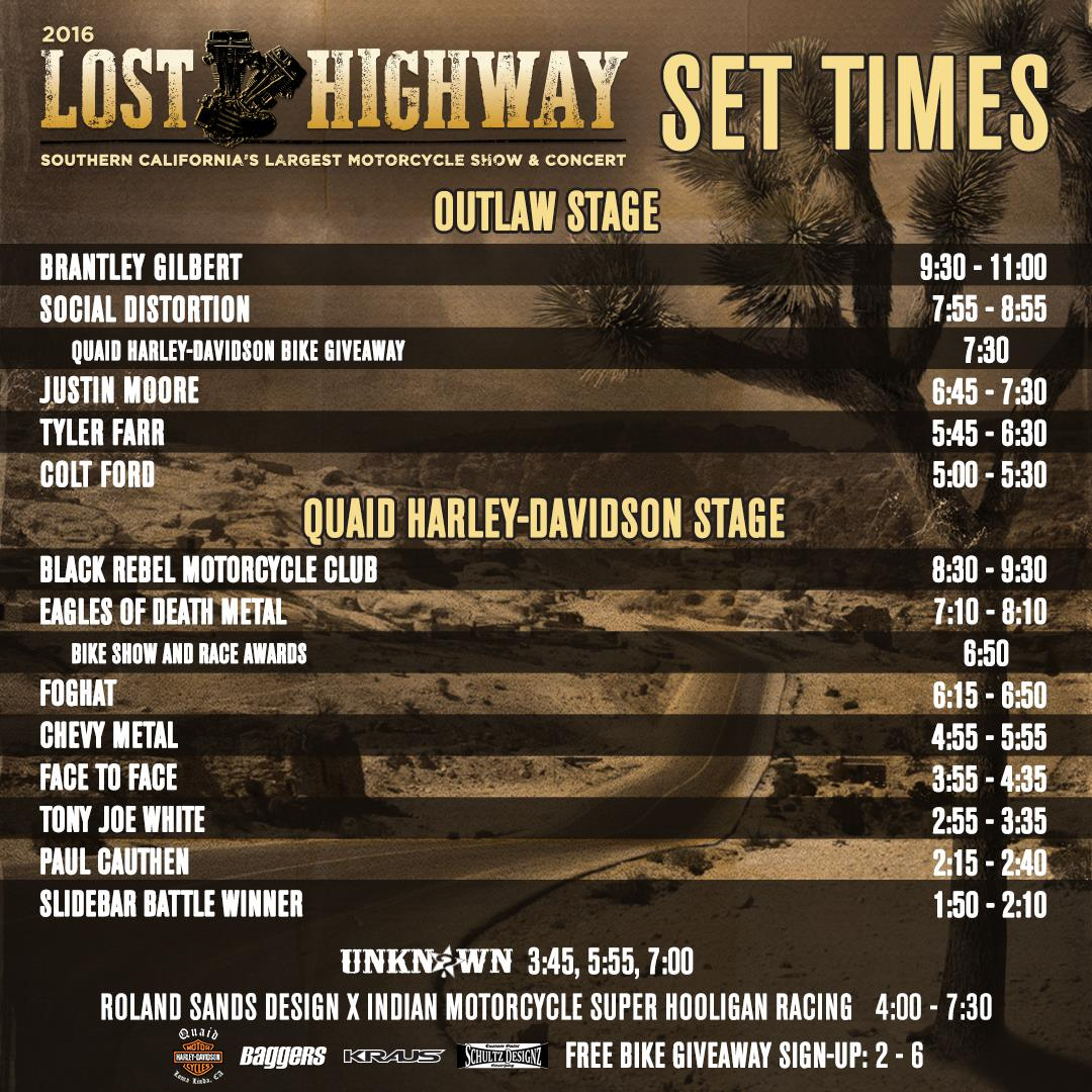 Lost Highway festival stage time 1